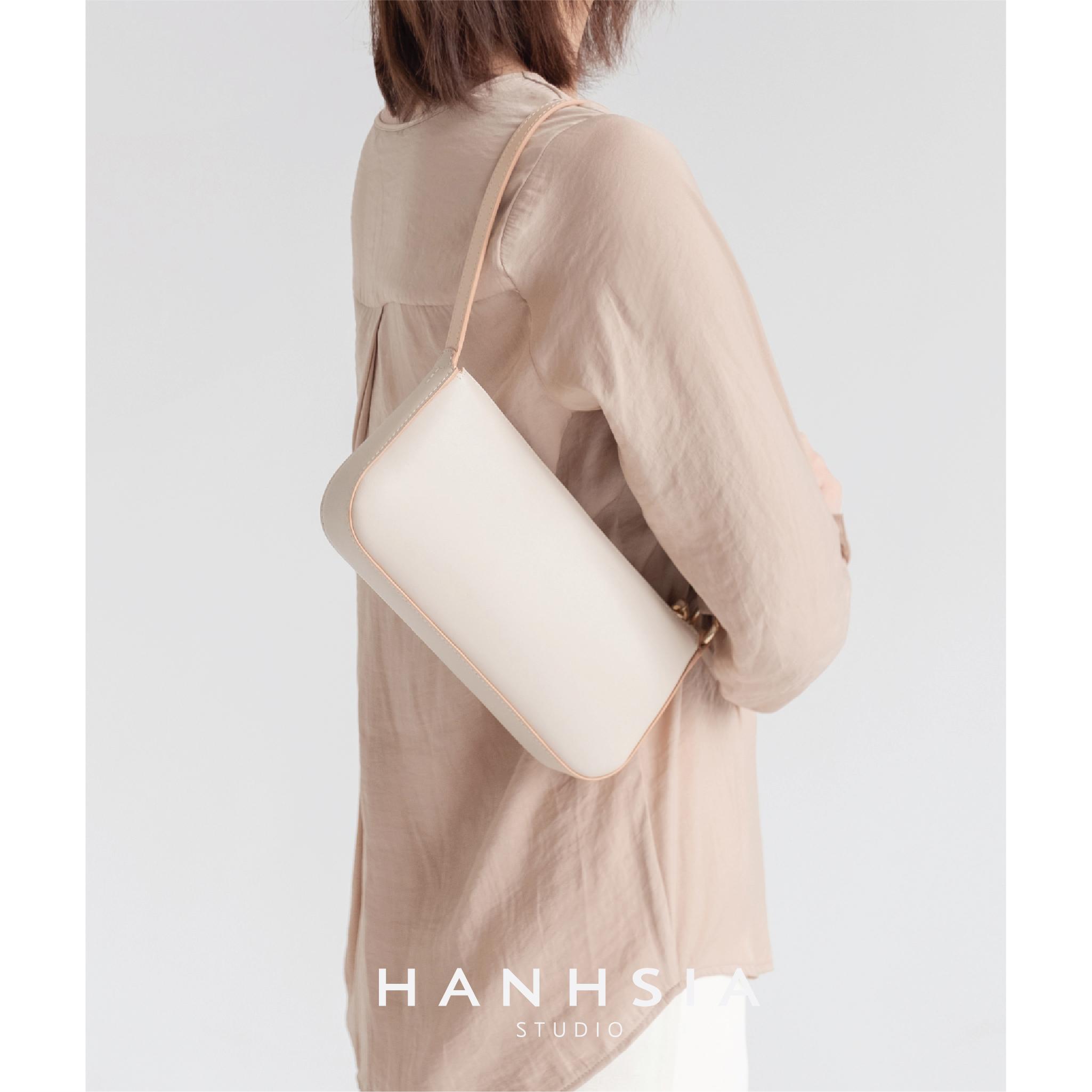 白色复古包 HANHSIA函夏手工高级感复古法式腋下包复古小众设计白色单肩包包_推荐淘宝好看的白色复古包