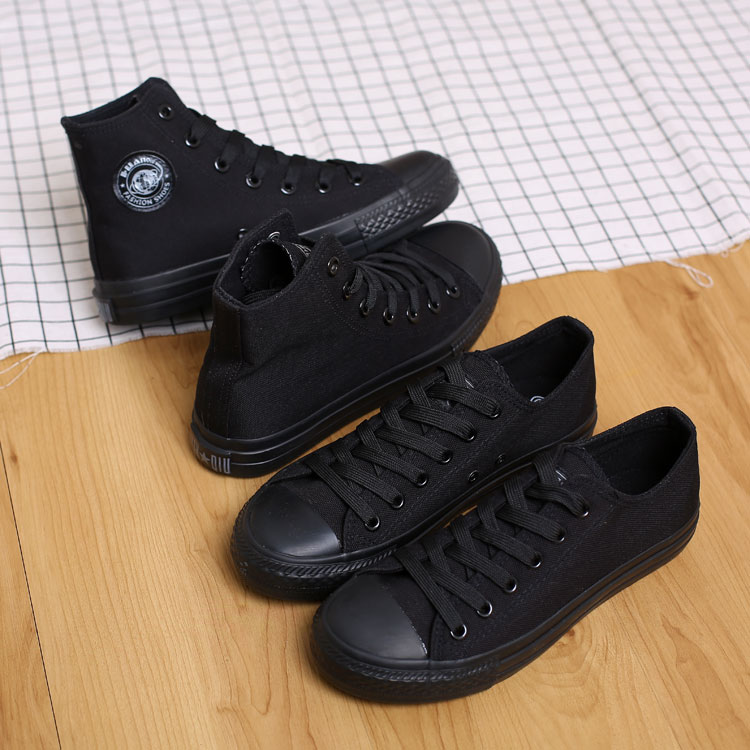 黑色帆布鞋 环球全黑色女鞋帆布鞋情侣布鞋韩版平底工作鞋板鞋小黑鞋休闲鞋潮_推荐淘宝好看的黑色帆布鞋