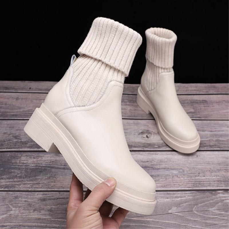 白色靴子 白色靴子毛线口女鞋粗跟真皮短靴2019新款秋冬针织袜靴中筒马丁靴_推荐淘宝好看的白色靴子