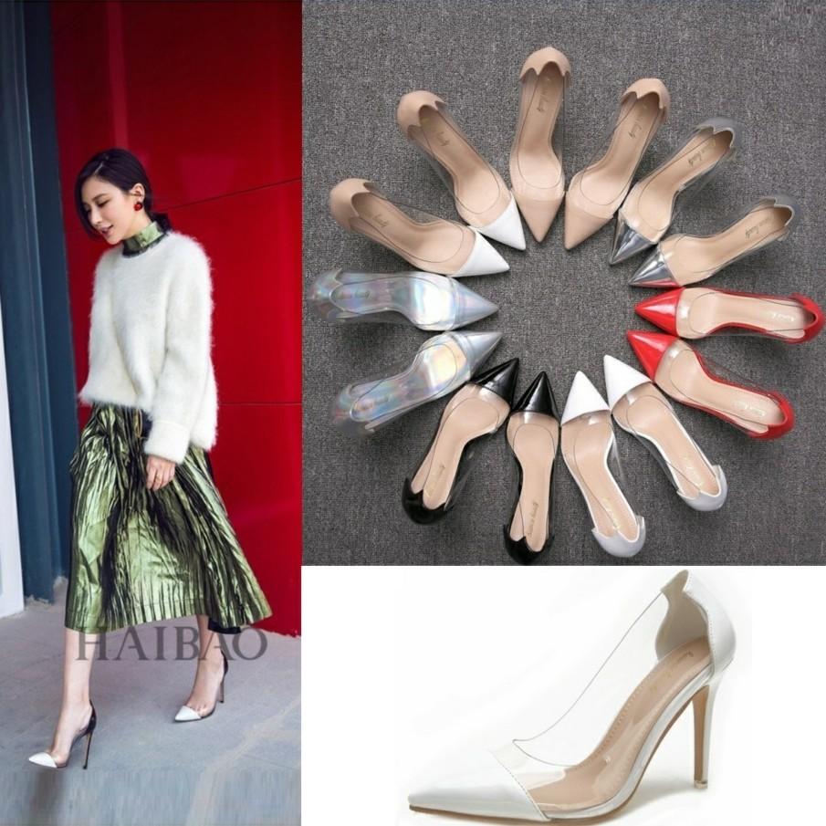 白色尖头鞋 新款女鞋2020爆款流行尖头单鞋细跟拼色百搭工作鞋白色透明高跟鞋_推荐淘宝好看的白色尖头鞋