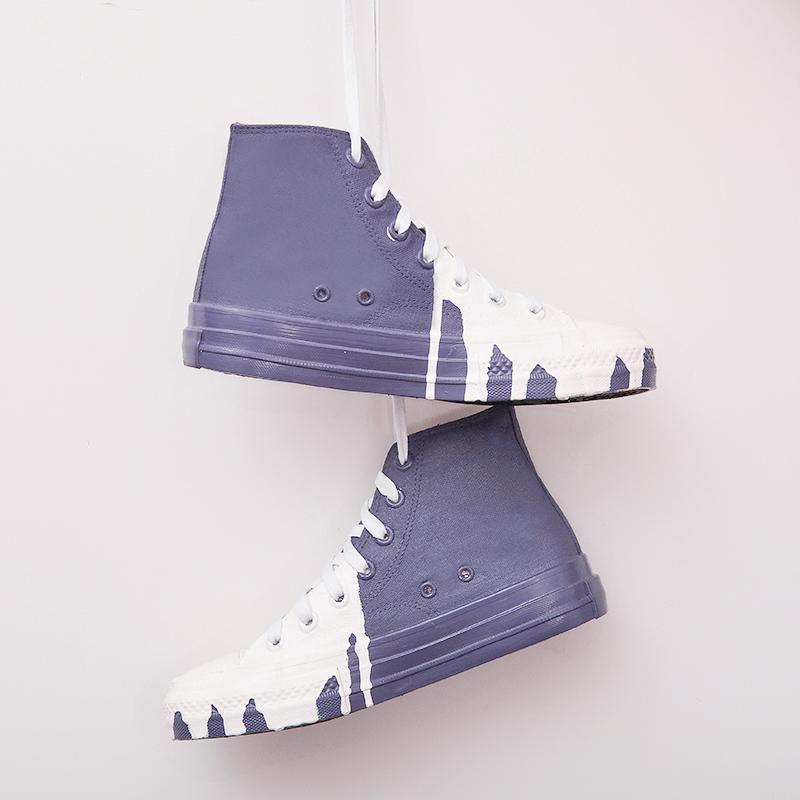 紫色高帮鞋 法国小众设计师daymare个性戛纳电影节白紫色溶化涂鸦高帮帆布鞋_推荐淘宝好看的紫色高帮鞋