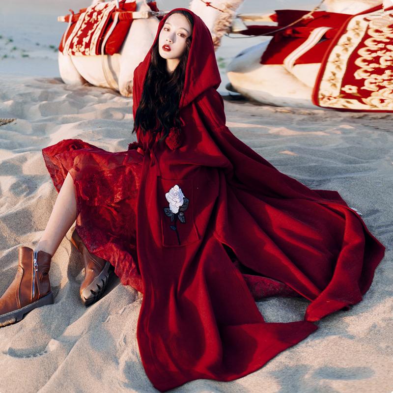 淘宝欧时力女装 新疆拉萨西藏旅游衣服女装拍照斗篷外套慵懒风连帽针织开衫毛衣春_推荐淘宝好看的欧时力女装