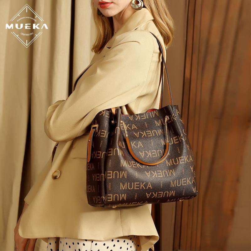 白色手提包 品牌女包2020新款秋冬时尚大气手提包大容量水桶包女士单肩斜挎包_推荐淘宝好看的白色手提包