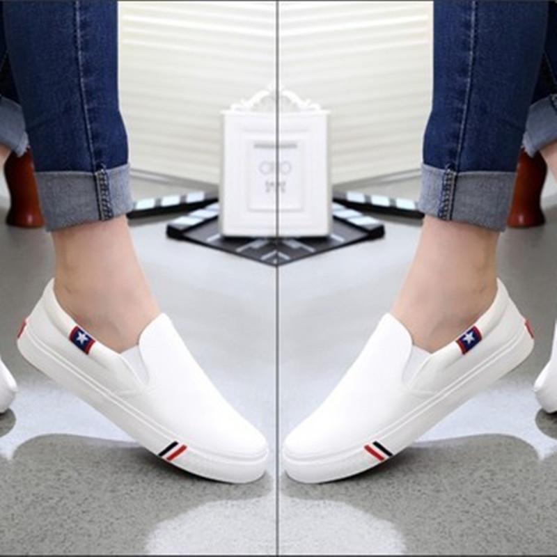 白色帆布鞋 春季男士白色帆布鞋一脚蹬懒人鞋韩版男鞋低帮休闲鞋板鞋学生布鞋_推荐淘宝好看的白色帆布鞋