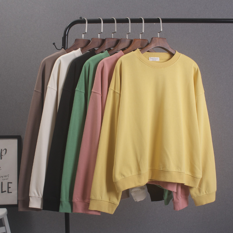 黄色卫衣 纯色圆领卫衣女长袖薄款初秋宽松学生百搭黄色休闲无帽打底衫上衣_推荐淘宝好看的黄色卫衣