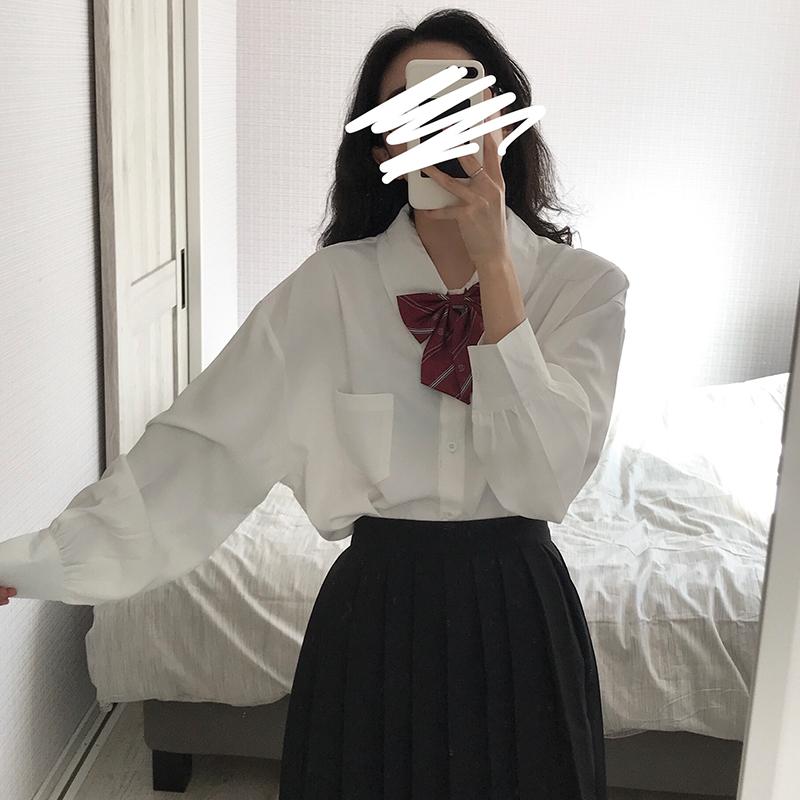 学院风衬衫 东日是个卷毛 日系学院风白色长袖领结衬衫女学生宽松蝴蝶结衬衣_推荐淘宝好看的女学院风衬衫