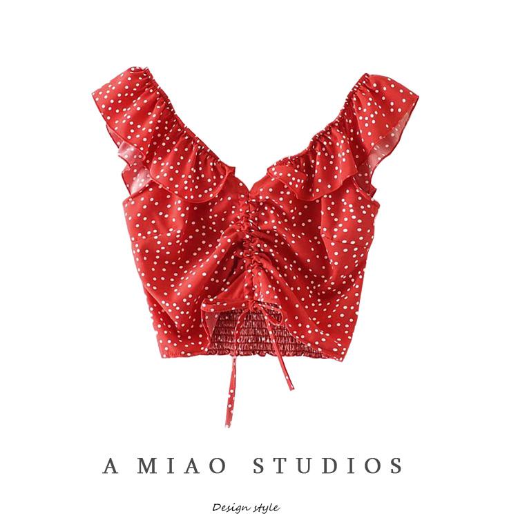 红色波点衬衫 小众少女心波点上衣设计款荷叶边抽绳露锁骨短款露脐小衫衬衫_推荐淘宝好看的红色波点衬衫