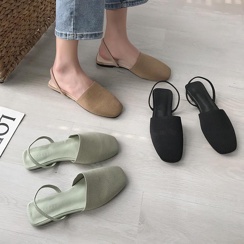 绿色凉鞋 绿色包头凉鞋女仙女风2020春夏针织晚晚温柔鞋平底防滑孕妇鞋子女_推荐淘宝好看的绿色凉鞋