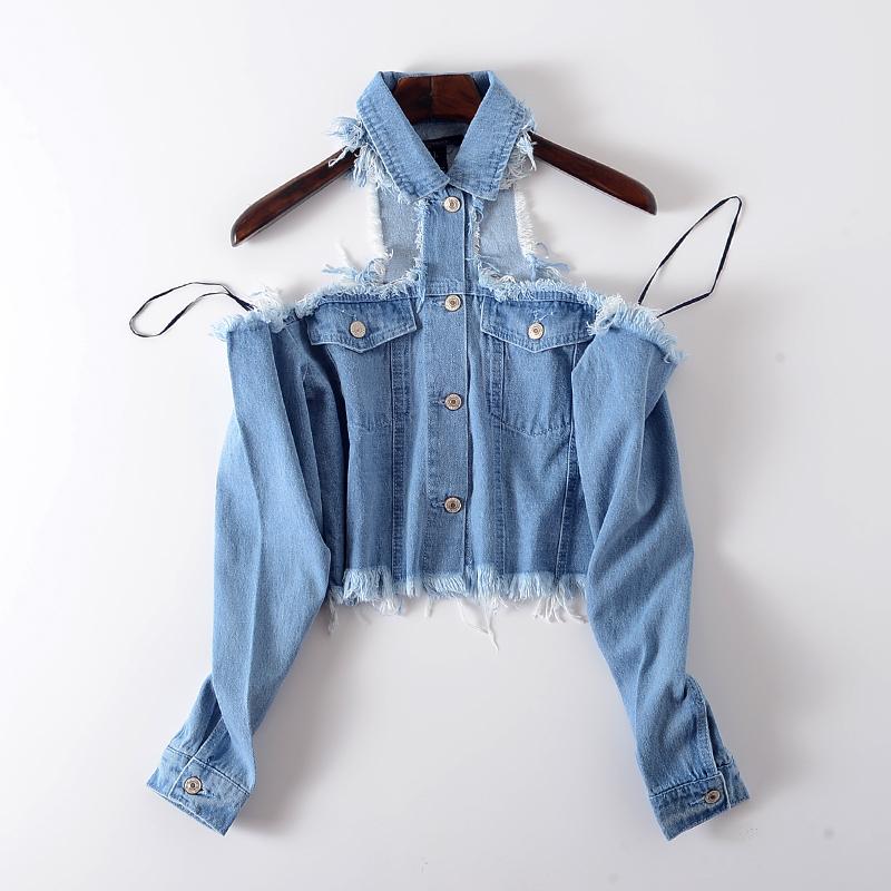修身牛仔衬衫 G46  美国DAN    019新款女装牛仔露肩单排扣修身长袖衬衫_推荐淘宝好看的女修身牛仔衬衫