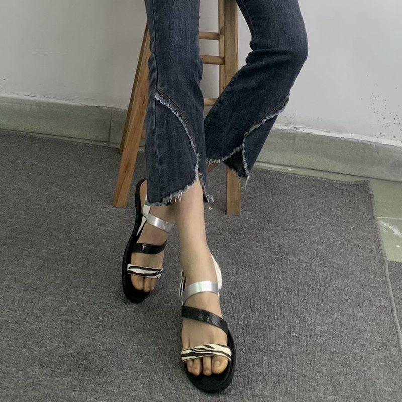 欧美罗马鞋 外贸女鞋出口简约凉鞋细带舒适日常欧美平底罗马鞋夏季包邮_推荐淘宝好看的欧美罗马鞋