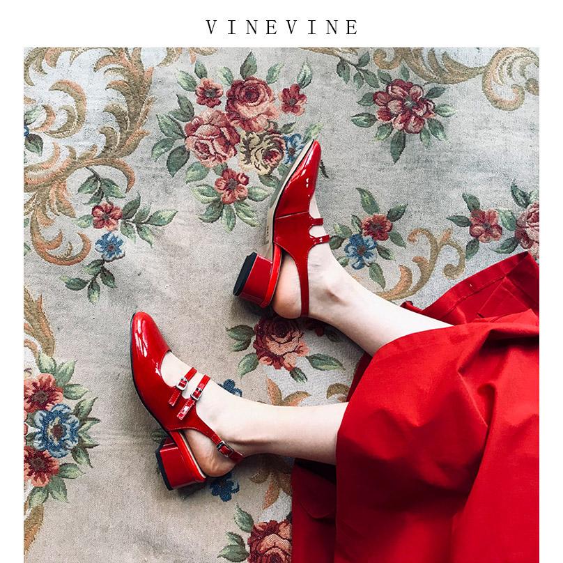 红色罗马鞋 玛丽珍鞋复古粗跟一字扣半罗马漆皮红色包头凉鞋女夏中跟后空单鞋_推荐淘宝好看的红色罗马鞋