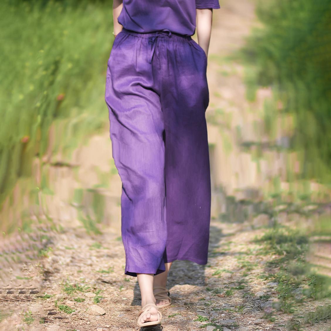 紫色休闲裤 2021新款紫色裤子女宽松阔腿裤春秋文艺显瘦亚麻百搭休闲裤直筒夏_推荐淘宝好看的紫色休闲裤