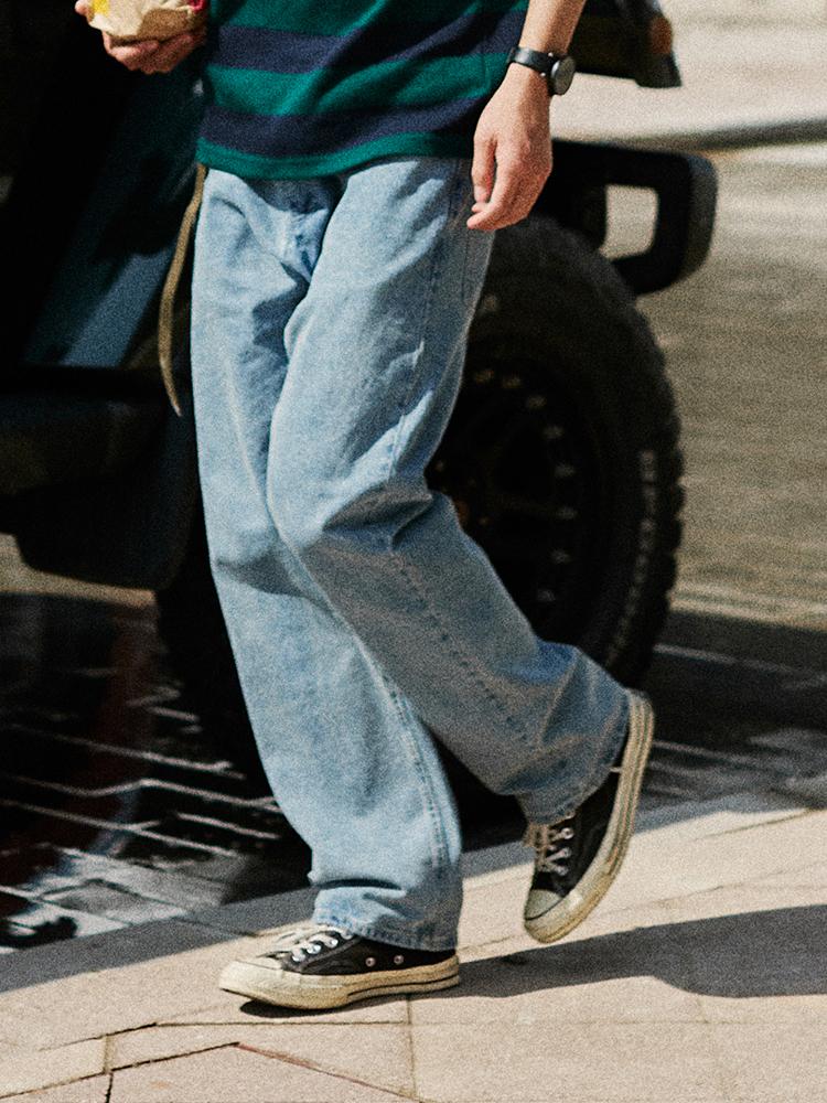 低腰直筒牛仔裤 LKSTORE RETROMIND 19SS 潮流休闲直筒牛仔裤 男女宽松复古工装裤_推荐淘宝好看的女低腰直筒牛仔裤
