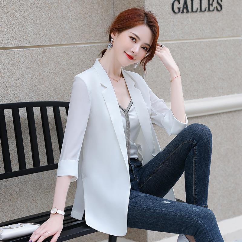 女士休闲西服 白色薄款雪纺小西装外套女2020夏季时尚休闲防晒衫宽松空调衫上衣_推荐淘宝好看的女休闲西装