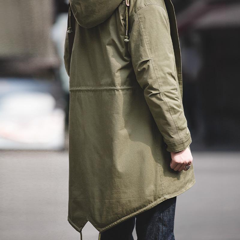 男士风衣 马登工装 美式复古M51军版鱼尾风衣中长款保暖外套连帽大衣男棉服_推荐淘宝好看的男风衣