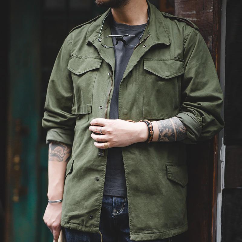 男士风衣 马登工装 美式复古二战军绿M65野战夹克战壕军版冲锋衣风衣外套男_推荐淘宝好看的男风衣