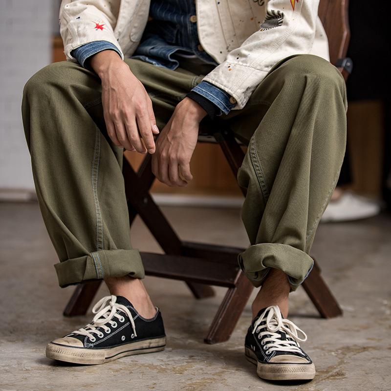 绿色休闲裤 马登工装 军绿色卷边休闲军裤阿美咔叽古着直筒宽松休闲阔腿裤男_推荐淘宝好看的绿色休闲裤