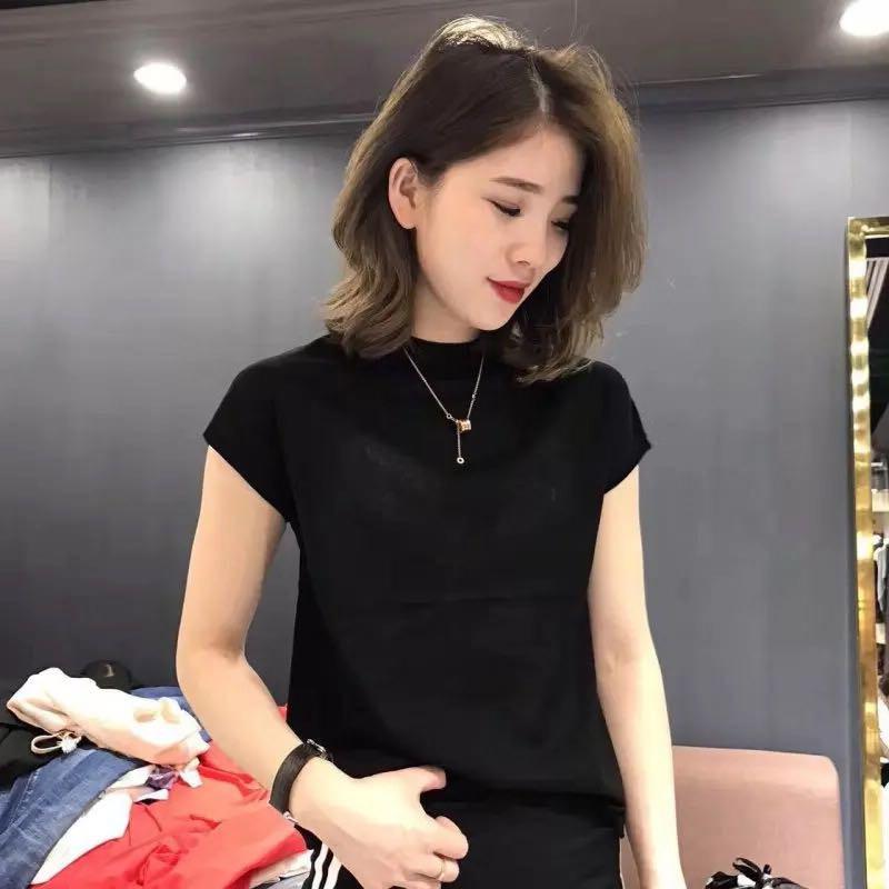 针织衫 2020韩版新款无袖背心针织衫女夏冰丝薄款半高领上衣短袖打底衫_推荐淘宝好看的女针织衫