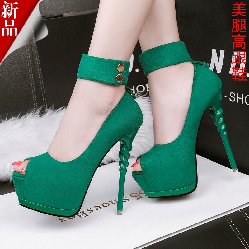 绿色鱼嘴鞋 14厘米超高跟细跟防水台鱼嘴两穿舞会伪娘鞋绒面绿色晚宴礼服凉鞋_推荐淘宝好看的绿色鱼嘴鞋