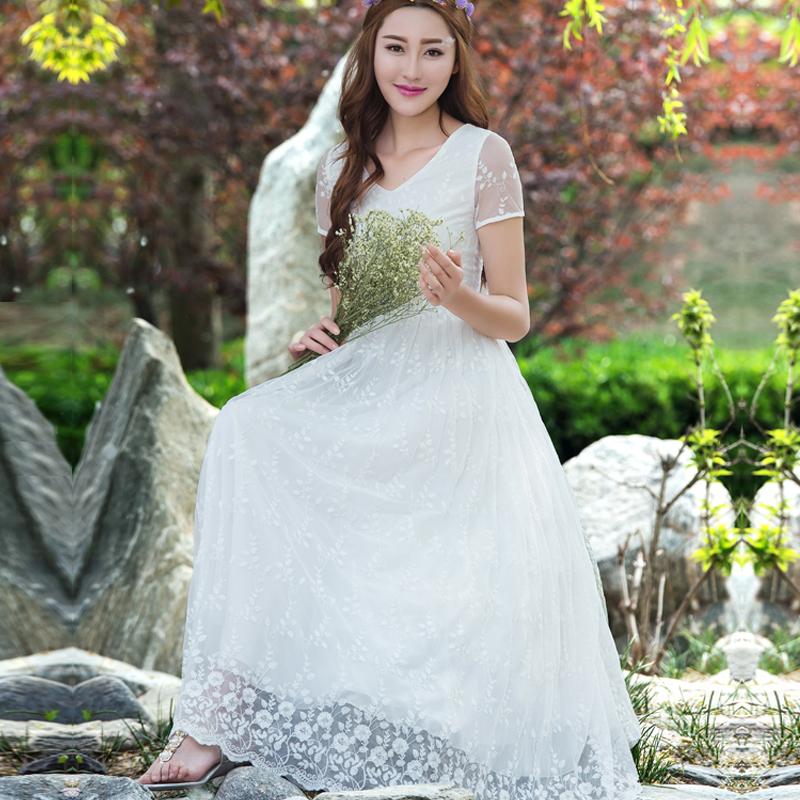 白色蕾丝连衣裙 2020夏季新款淑女连衣裙雪纺修身长裙蕾丝刺绣裙气质短袖大摆裙仙_推荐淘宝好看的白色蕾丝连衣裙