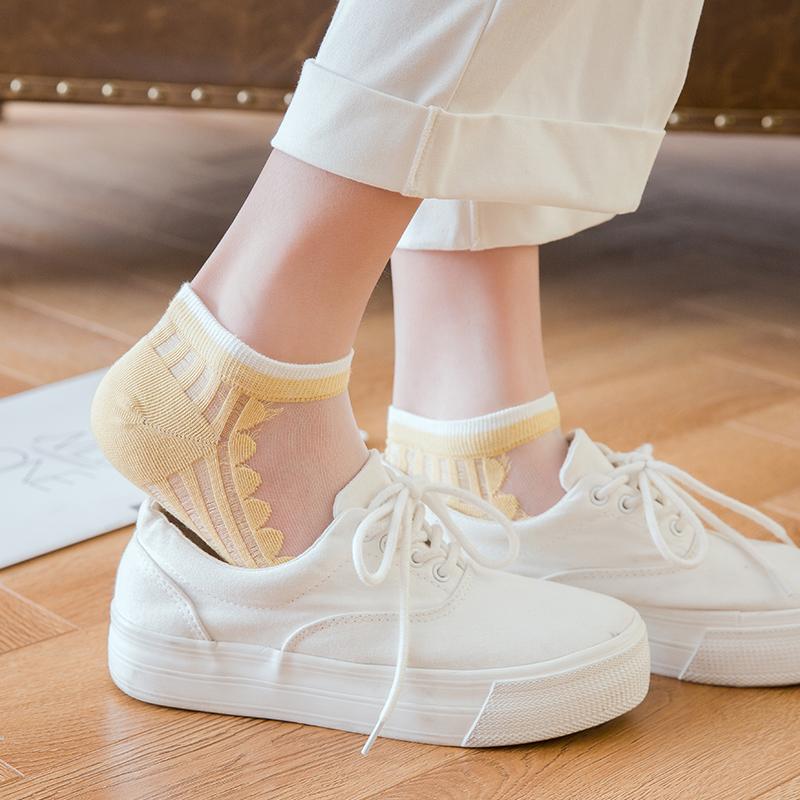 糖果色短丝袜 袜子女短袜浅口韩国可爱玻璃丝夏季薄款纯棉底水晶丝袜糖果色船袜_推荐淘宝好看的糖果色短丝袜