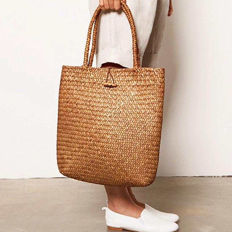 女士复古手提包 韩国包包2020新款复古草编大包沙滩包草包单肩手提女包休闲百塔包_推荐淘宝好看的女复古手提包