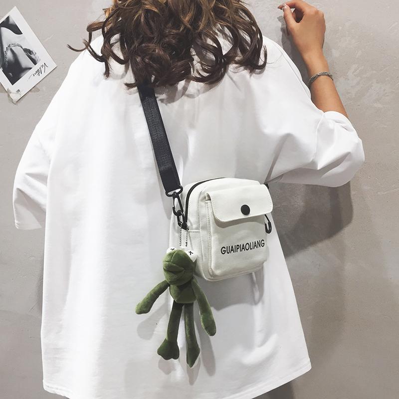 白色单肩包 新款女包包2019帆布斜挎装手机小2020潮网红可爱迷你休闲单肩背包_推荐淘宝好看的白色单肩包