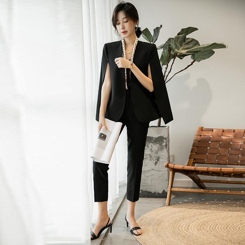 黑色小西装 西服套装女士黑色斗篷韩版披肩上衣职业小西装2021年春秋新款外套_推荐淘宝好看的黑色小西装