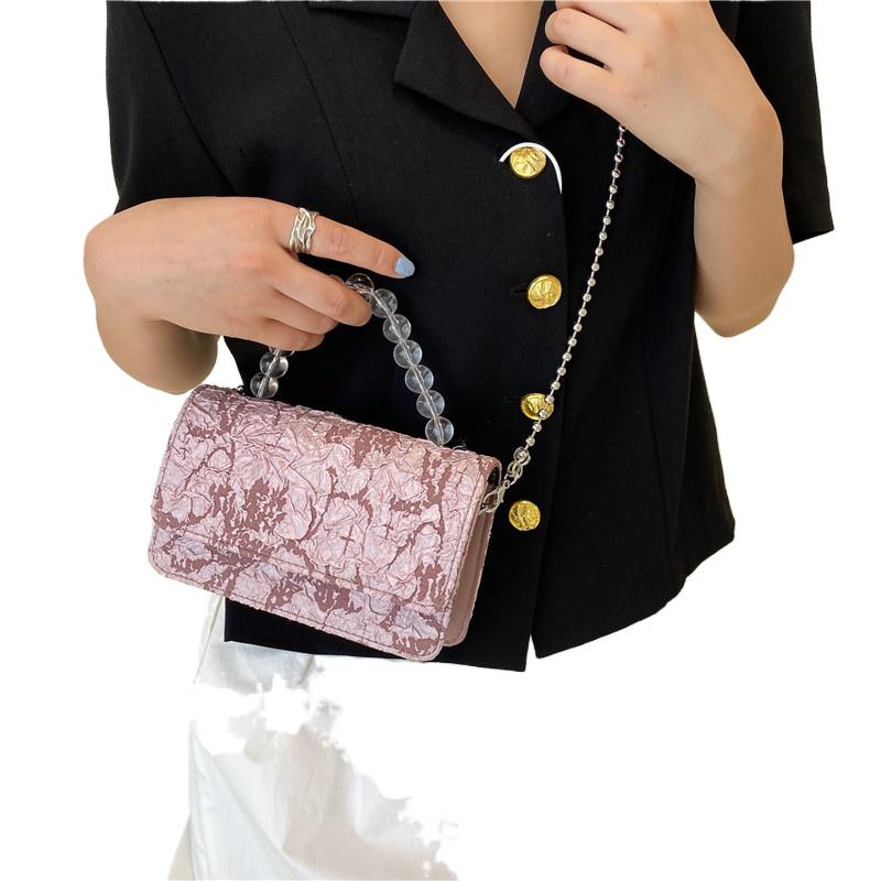 白色糖果包 漂亮姐姐2021新款日韩版糖果色小方包绣线褶皱软时尚简约白色_推荐淘宝好看的白色糖果包