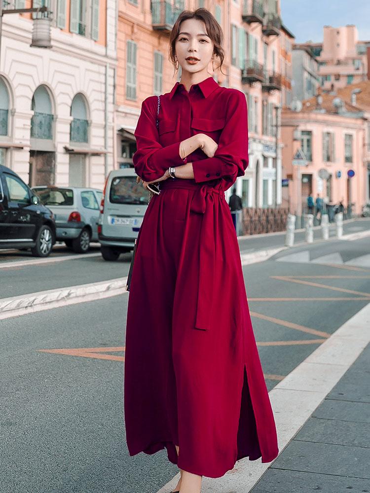 长袖连衣裙 红色150cm小个子连衣裙女夏长袖收腰夏装春秋气质复古赫本风裙子_推荐淘宝好看的长袖连衣裙