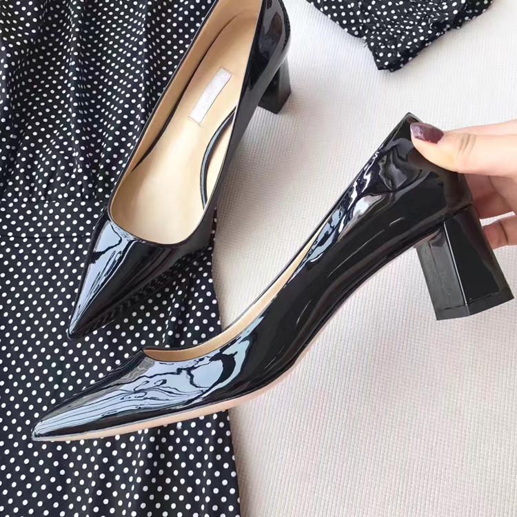 漆皮高跟单鞋 粗跟尖头单鞋女2021新款夏百搭浅口漆皮高跟黑色工作鞋中跟韩版潮_推荐淘宝好看的女漆皮高跟单鞋