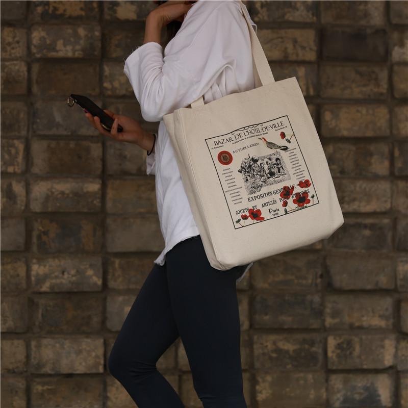 复古帆布包 巴黎市政厅百货同款女单肩帆布包VINTAGE包包小众复古文艺INS布袋_推荐淘宝好看的女复古帆布包