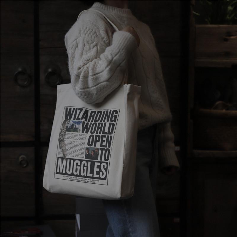 学生单肩包 原创哈利波特霍格沃兹魔法学校男女单肩全棉帆布包定制斜挎学生包_推荐淘宝好看的女学生单肩包