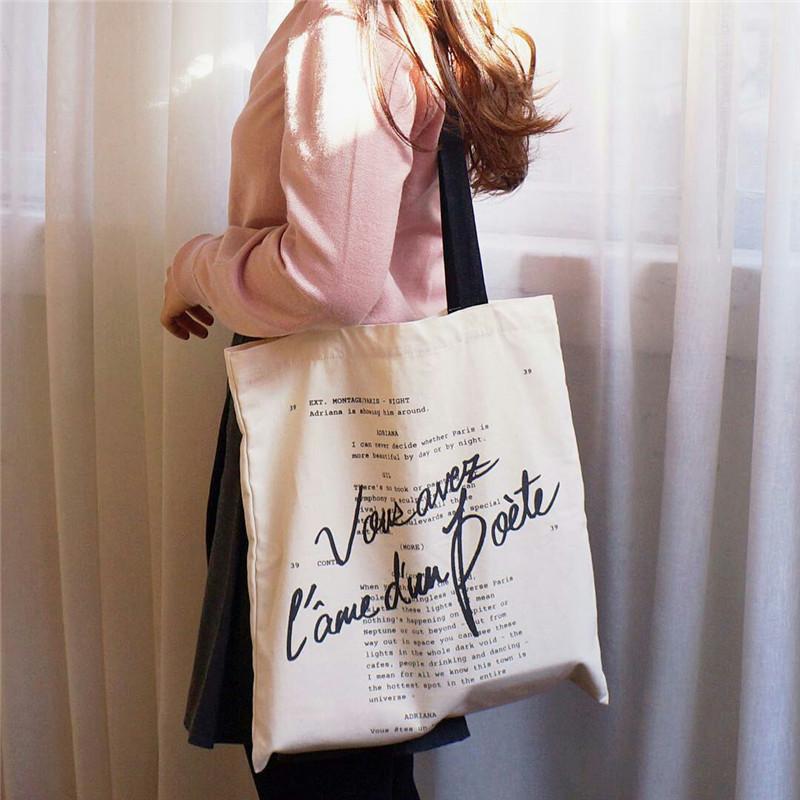 复古帆布包 午夜巴黎电影周边帆布包INS布袋文艺小众复古女单肩CHIC街拍包包_推荐淘宝好看的女复古帆布包