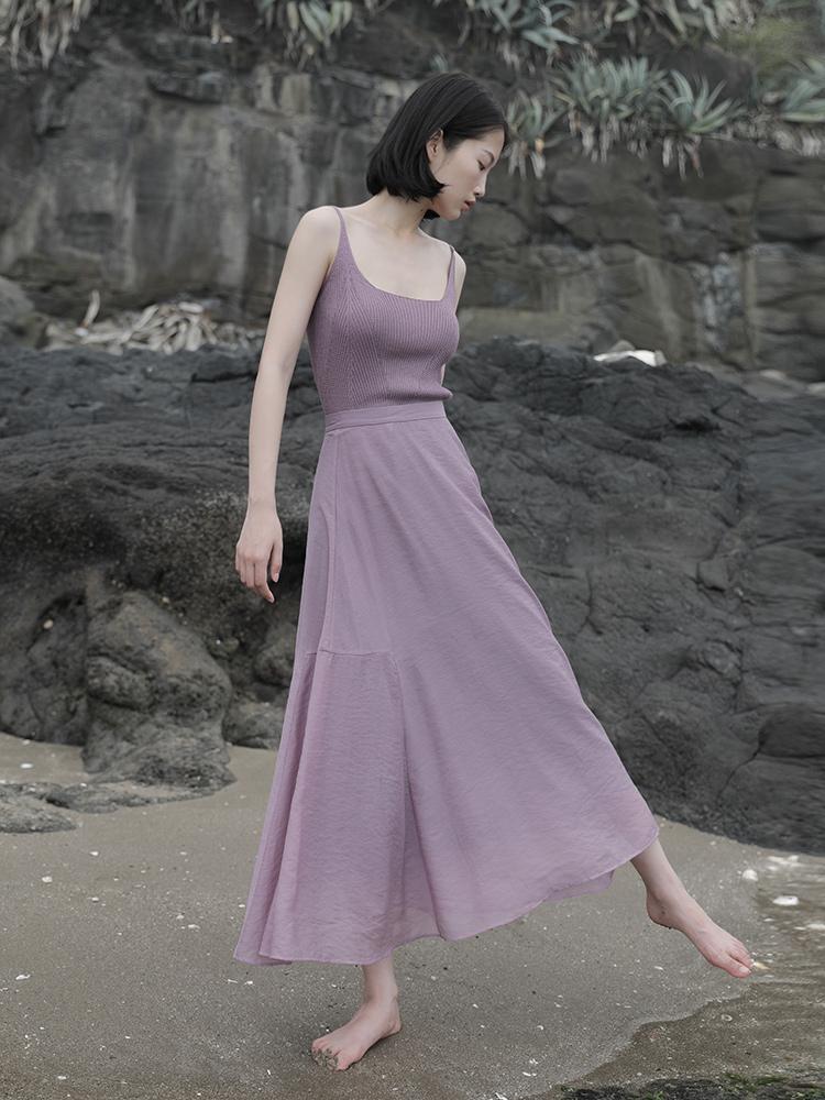 紫色半身裙 通透感半身长裙夏.紫色飘逸半裙女设计感小众自带美白滤镜的穿搭h_推荐淘宝好看的紫色半身裙
