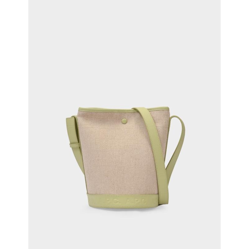 绿色水桶包 A.P.C. Helene 帆布拼绿色亮面皮质水桶包单肩包_推荐淘宝好看的绿色水桶包