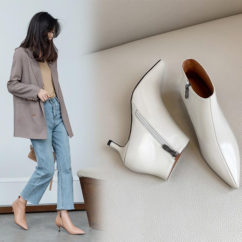 白色尖头鞋 三厘米小跟鞋猫跟欧美靴子女尖头细跟及踝靴秋冬低跟裸靴白色短靴_推荐淘宝好看的白色尖头鞋