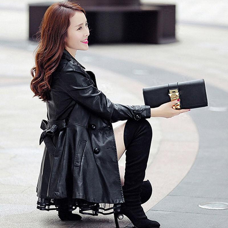长款皮衣 皮衣女新款韩版女装外套中长款2021保暖加绒加厚皮风衣秋冬外套女_推荐淘宝好看的女长皮衣