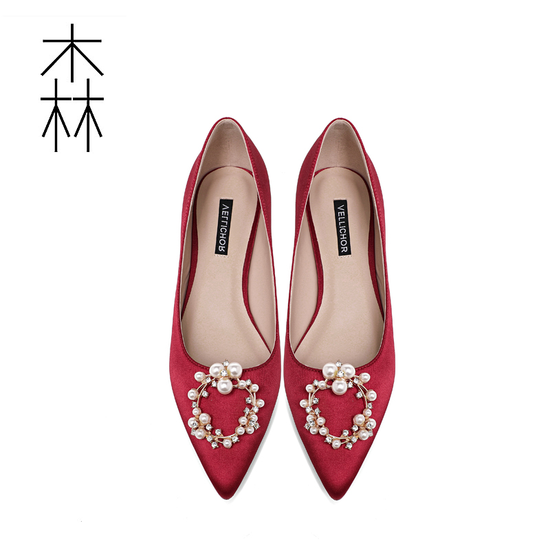 红色平底鞋 婚鞋女2020年新款婚纱伴娘新娘结婚秀禾鞋低粗跟红色尖头平底单鞋_推荐淘宝好看的红色平底鞋