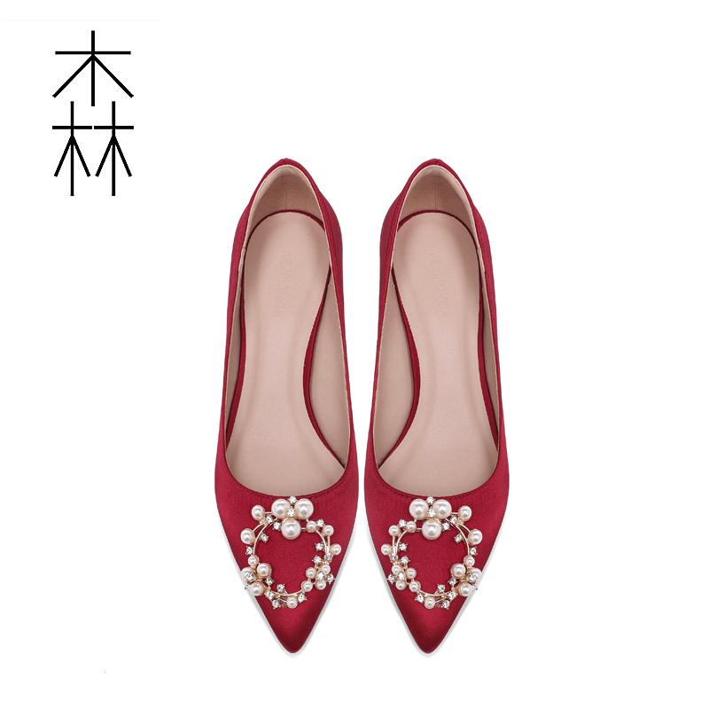 红色尖头鞋 婚鞋女2020年新款新娘结婚纱伴娘秀禾鞋尖头粗跟单鞋低红色高跟鞋_推荐淘宝好看的红色尖头鞋