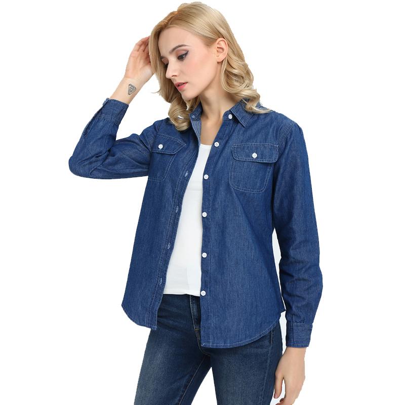 修身牛仔衬衫 春季薄款长袖牛仔衬衫女2020夏季休闲外套女修身加大码上衣工作服_推荐淘宝好看的女修身牛仔衬衫