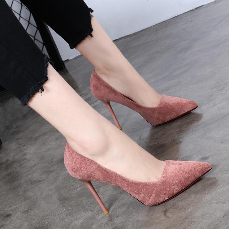 黑色凉鞋 2020春夏新款尖头高跟鞋女凉鞋性感细跟浅口单鞋婚鞋OL黑色工作鞋_推荐淘宝好看的黑色凉鞋