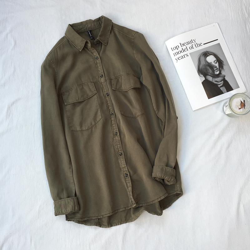 长袖牛仔衬衫 天丝棉做旧水洗军绿色牛仔衬衫女长袖宽松bf复古风休闲百搭上衣春_推荐淘宝好看的女长袖牛仔衬衫