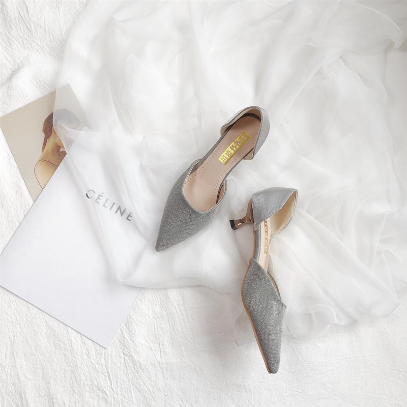 高跟鞋 2019春夏新款法式少女高跟鞋女细跟尖头中空凉鞋小清新浅口网红_推荐淘宝好看的女高跟鞋