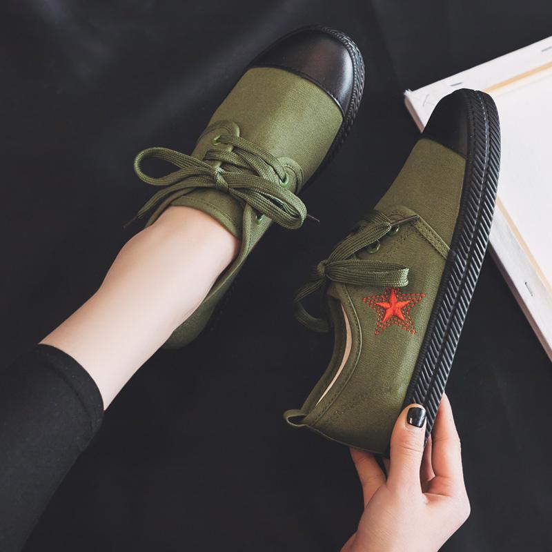 绿色平底鞋 2019春季新款女式休闲平底解放鞋布鞋百搭军绿色帆布鞋山本风板鞋_推荐淘宝好看的绿色平底鞋
