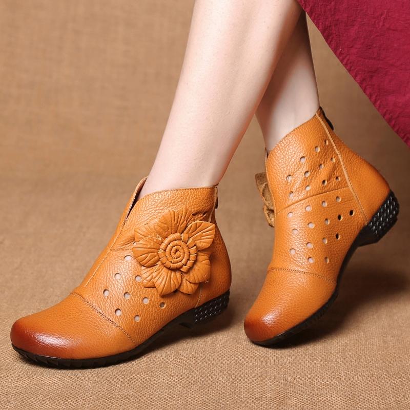 低跟坡跟鞋 春季女靴2017新款真皮镂空女鞋春秋短靴单靴坡跟低跟洞洞靴女靴子_推荐淘宝好看的低跟坡跟鞋