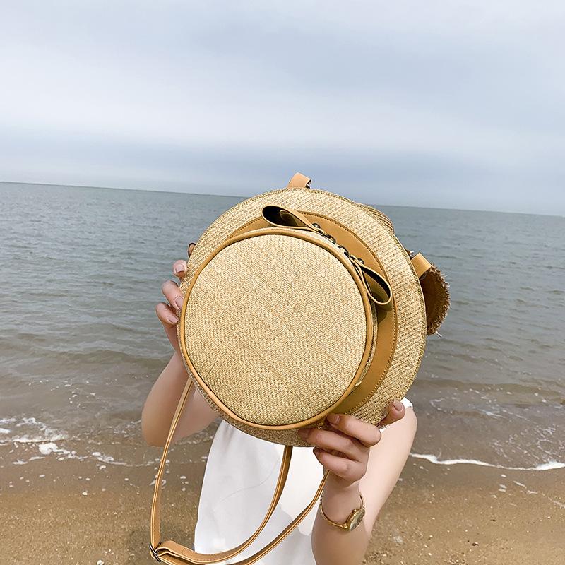 粉红色草编包 2019休闲单肩双肩两用包包2020春夏新款草编沙滩个性编织帽子女包_推荐淘宝好看的粉红色草编包