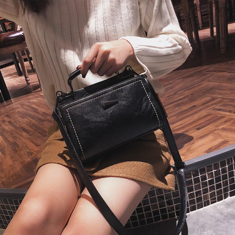 粉红色手提包 2020新款冬季小包包韩版潮复古手提小方包时尚百搭单肩斜挎包女包_推荐淘宝好看的粉红色手提包