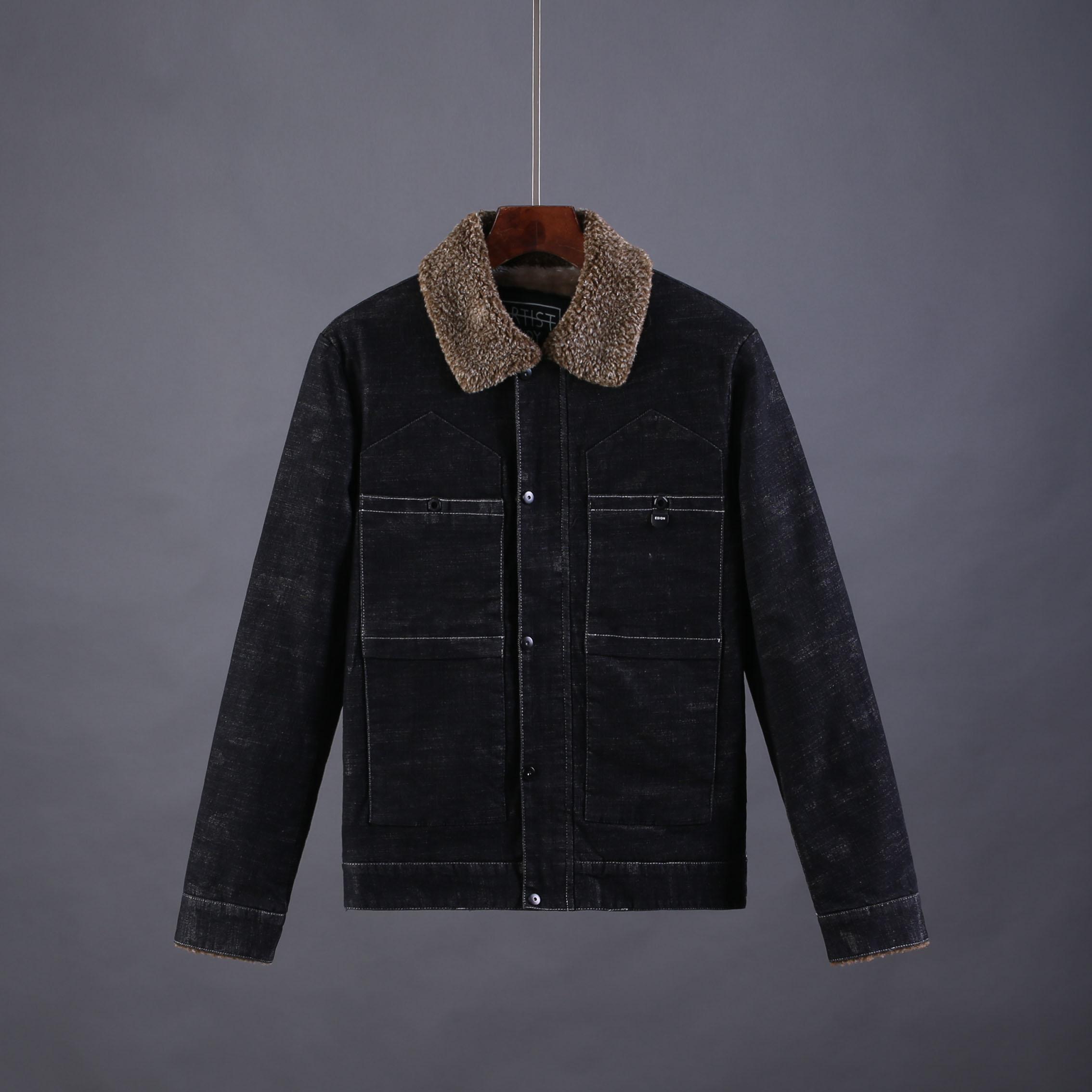 牛仔夹克 冬季加绒加厚男士宽松牛仔外套日系保暖夹克翻领工装牛仔上衣A855_推荐淘宝好看的男牛仔夹克