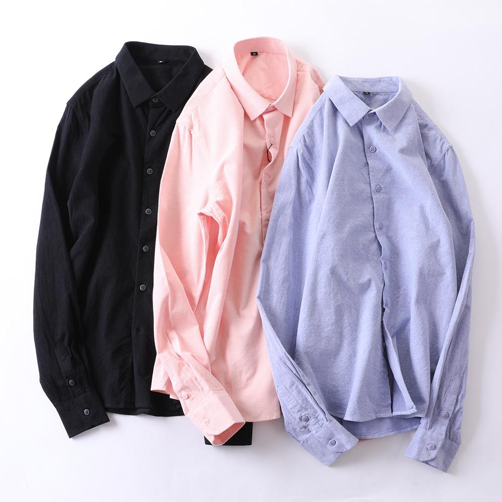 男装衬衫 秋季新款磨毛长袖衬衫男士纯色韩版修身商务衬衣休闲潮流寸衫C02_推荐淘宝好看的男衬衫